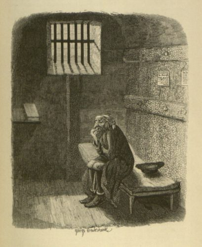 Fagin, in his cell. From Oliver Twist, 1838. Image from WikiMedia Commons, courtesy of the University of Missouri, Special Collections and Rare Books.