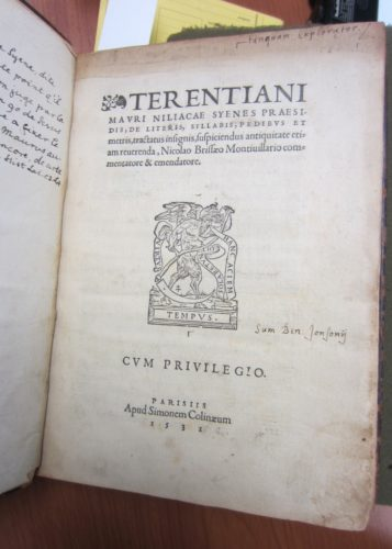 Title page with Ben Jonson's signature and motto (PA 6754 .T6 1531 (Photograph by Caroline Duroselle-Melish)