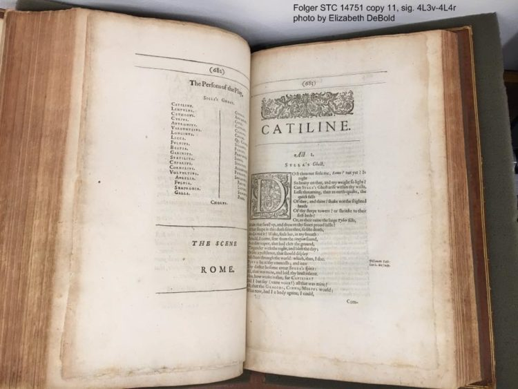 Jonson's folio open to the beginning of the play Cataline