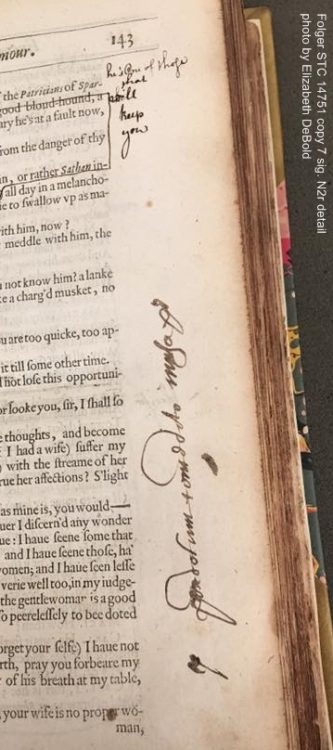 The handwriting in the margin seems to be a different hand (and different ink) than the hand making the line edits at the top of the page. (STC 14751 copy 7, sig. N2r)