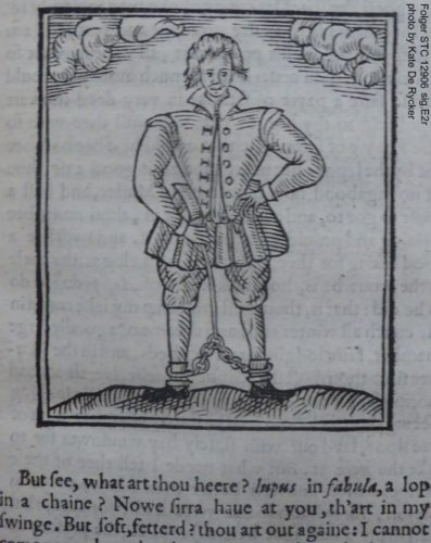 The only known image of Nashe is this satirical woodcut from The Trimming of Thomas Nashe (1597) depicting Nashe in chains and unkempt hair. (Folger STC 12906)