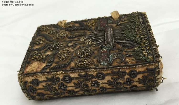 The embroidered binding on the Inglis manuscript.