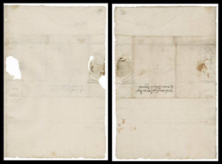 Front and back of the 2nd leaf of Folger MS L.a.874.