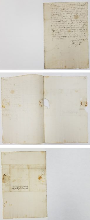 Folger MS L.a.874: front (closed); inside (open); back (closed).