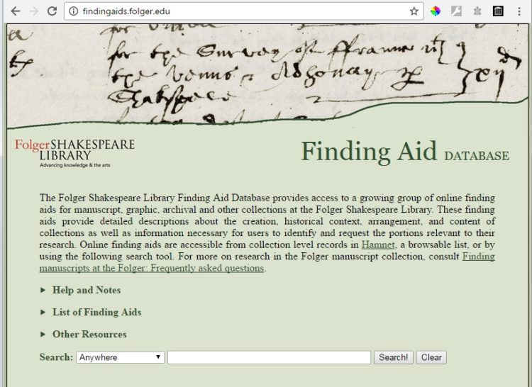 Landing page for findingaids.folger.edu