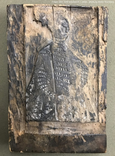 woodblock showing a portrait of a woman(?)