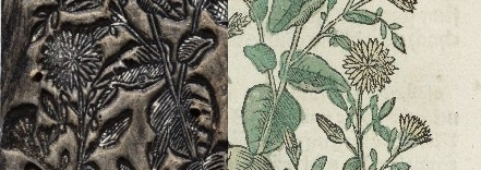 left: detail of woodcut, right: same detail of print