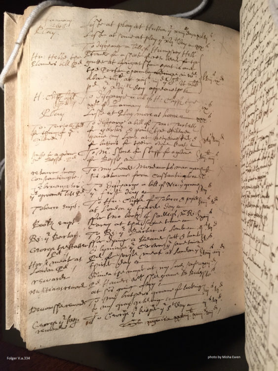 A page from William Petre's account book in February 1606/7