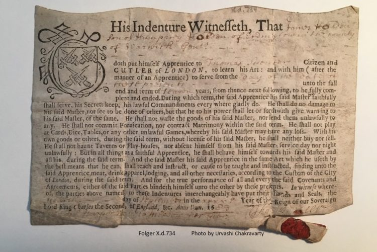 Indenture of apprenticeship for James Holden