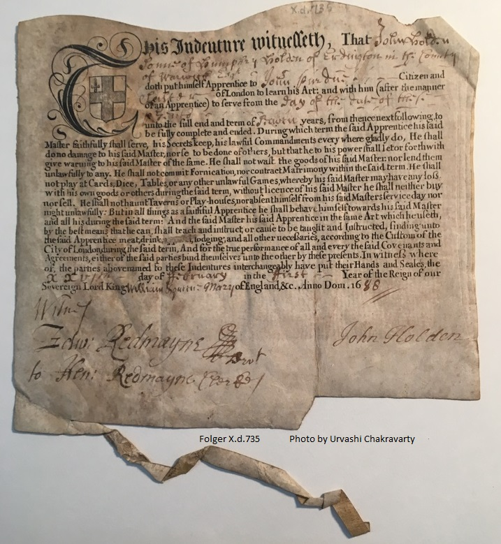 Indenture of apprenticeship for John Holden