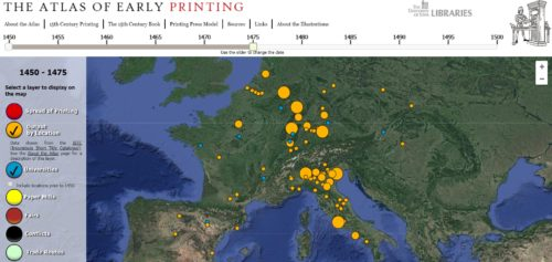 Screenshot of the Atlas of Early Printing