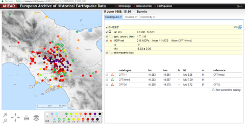 AHEAD: European Archive of Historical Earthquake Data screenshot
