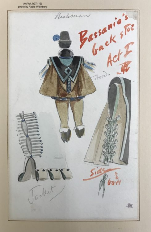 watercolor showing the back of the costume design for Bassanio, including his cape and the details of the side of his shirt