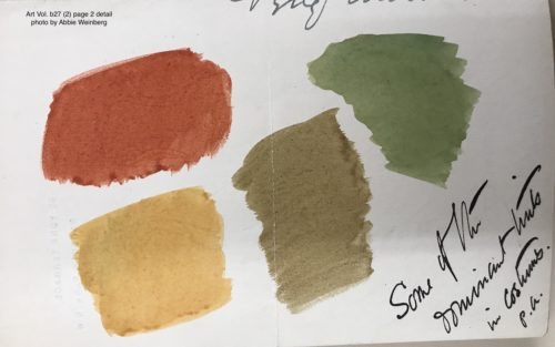 Red, yellow, green, and brown watercolor squares at the bottom of a 19th century letter