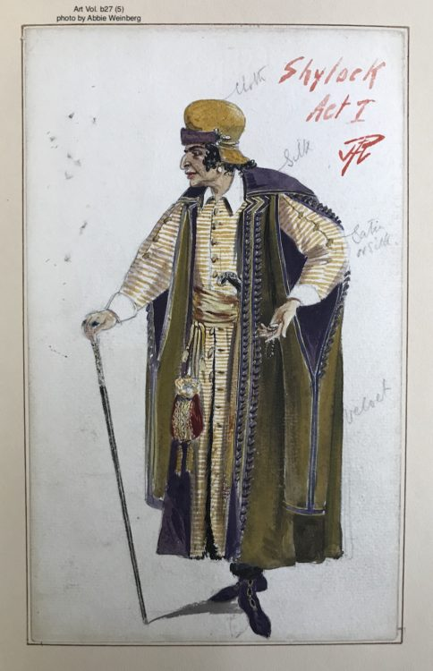 watercolor drawing of Shylock dressed in a light yellow suit with a dark green cloak