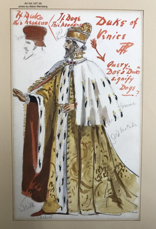 watercolor for the costume for the duke of venice. he is wearing long gold rope with a white fur over-cape