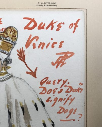 "detail from the duke of Venice costume design. Anderson wrote ""Query. Does 'Duke' signify Doge?"""
