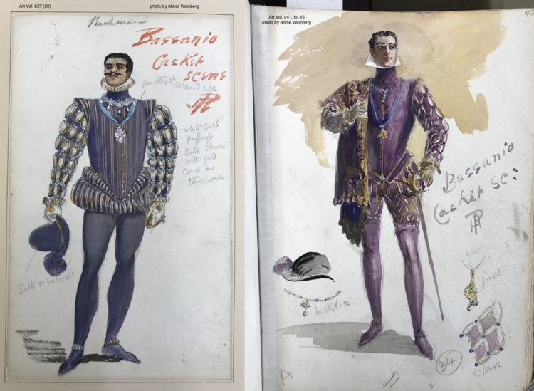 two versions of Bassanio's costume for the casket scene, both wearing purple and gold dublet and purple hose