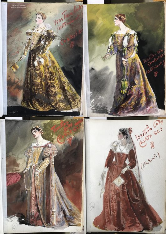 four watercolors of women in Renaissance-esque gowns