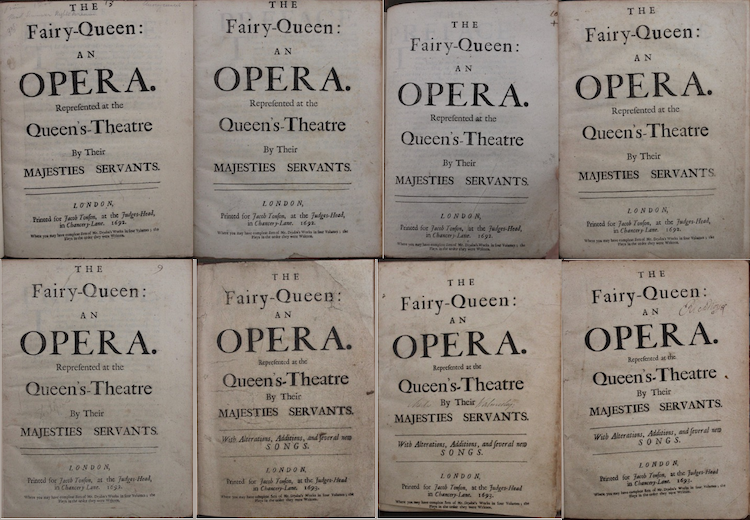 Composite image of all 8 titles pages of the Folger's copies of The Fairy-Queen