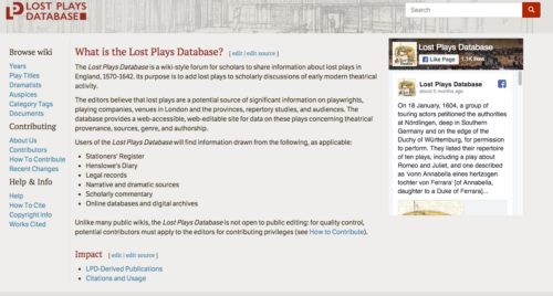 Lost Plays Database home page screenshot