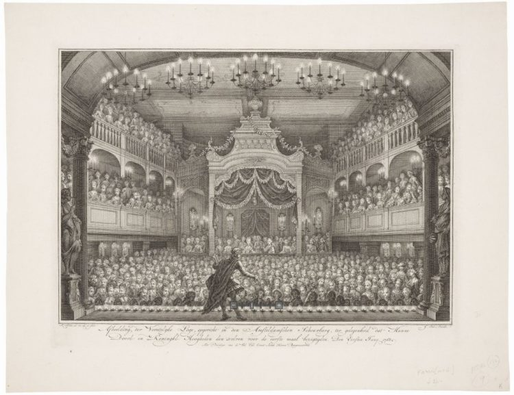 Engraving of theater interior looking from the stage to the audience