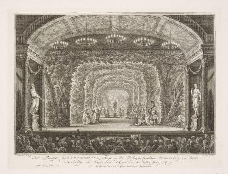 Engraving of theater interior looking to the stage from the audience