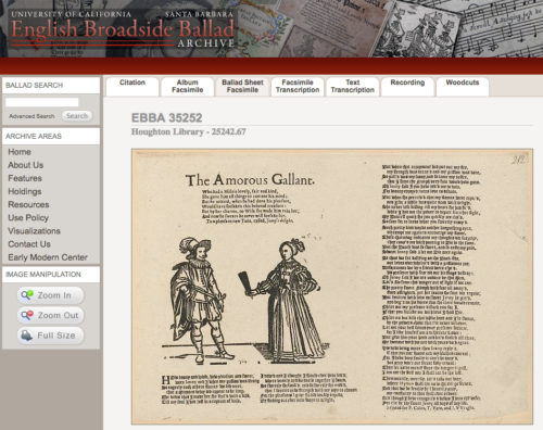 Screenshot of the English Broadside Ballad Archive entry for The Amorous Gallant