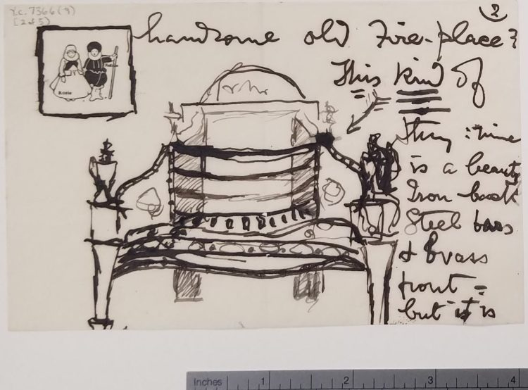 Drawing of a fireplace that looks, at first glance, to be a theater interior
