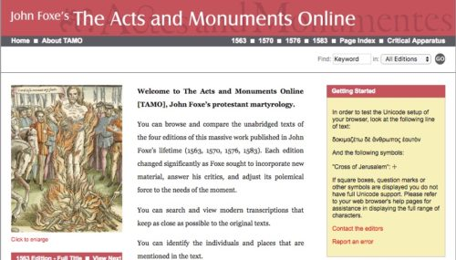 Homepage for the Acts and Monuments Variorum