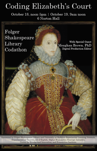 Poster created for the event, with an image of the Sieve Portrait of Elizabeth