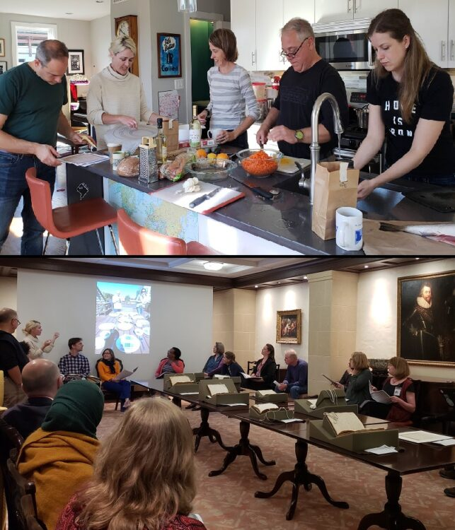 Top: David Goldstein, Amanda Herbert, Heather Wolfe, Ken Albala, and Elisa, cooking together. Bottom: Material Witness seminar during Albala's visit. Photos by Jonathan MacDonald