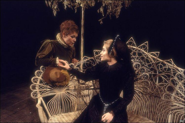 Judi Dench as Viola and Lisa Harrow as Olivia from the 1969 RSC Twelfth Night directed by John Barton