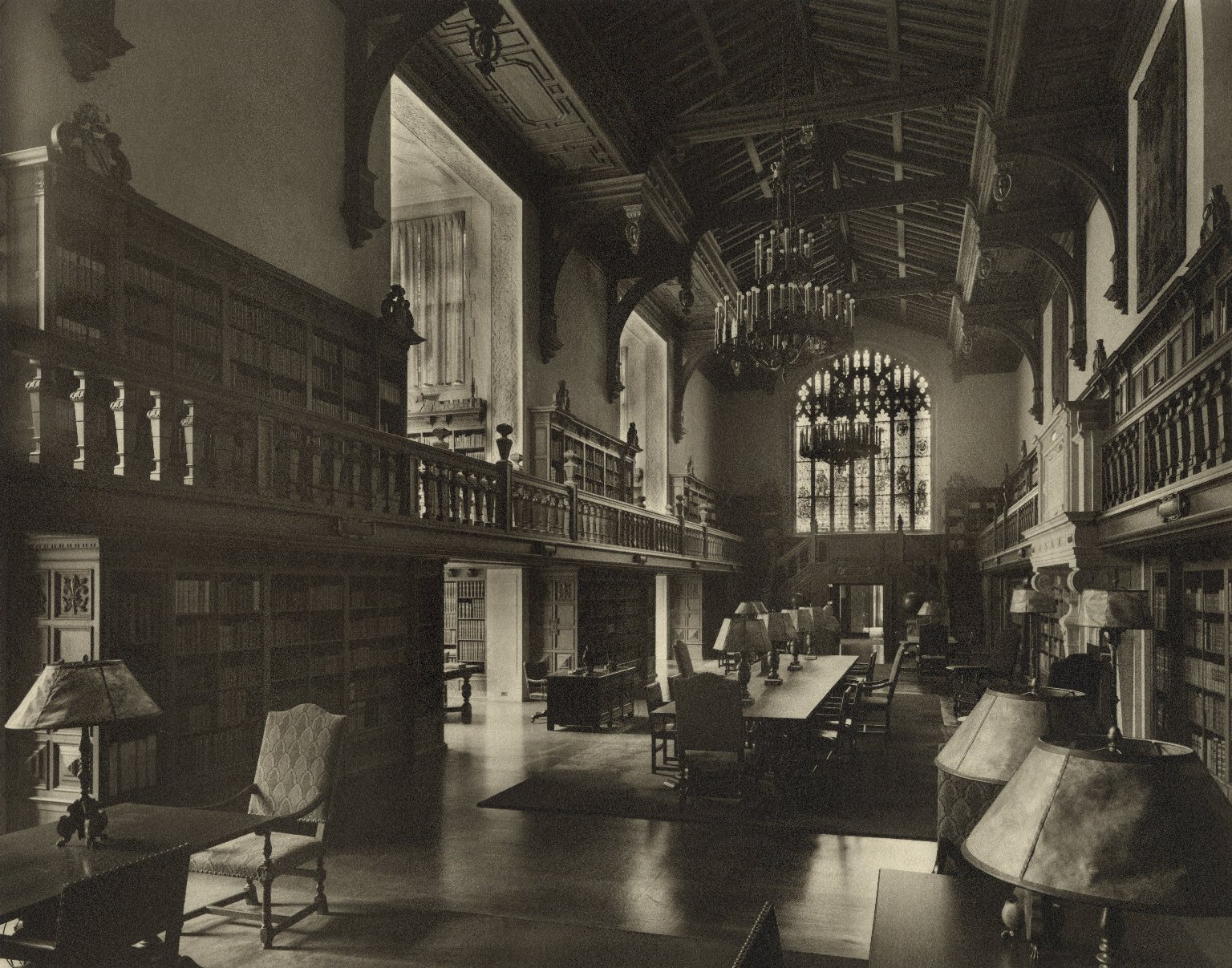 B&W photo of the Folger Reading Room from 1931