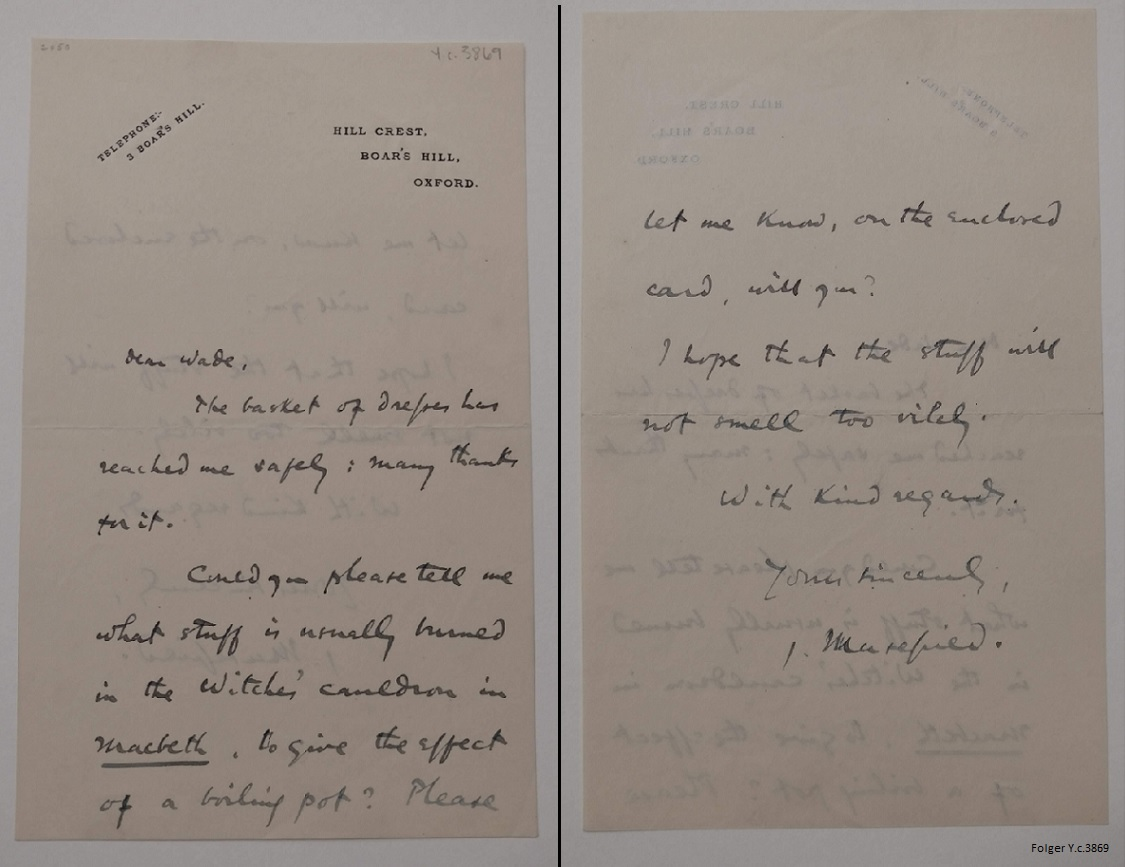 "Autograph letter signed from John Masefield, Oxford, to Wade regarding how ""to give the effect of a boiling pot"""