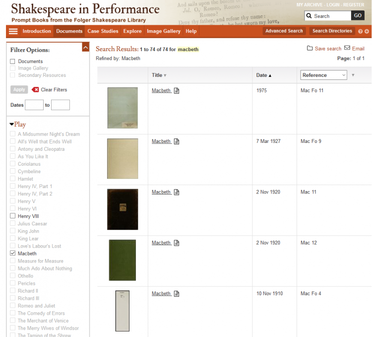 Shakespeare in Performance search results, sorted newest to oldest.