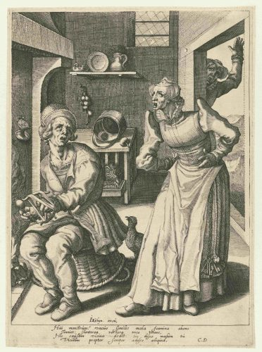 Engraving of a wife yelling at her spinning husband