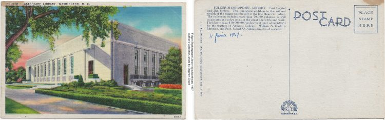 Color postcard of the Folger Shakespeare Library side by side with the reverse of the card, containing only a date written in blue ink