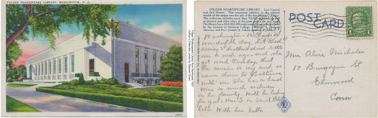 Color postcard showing a colored drawn image of the Folger Shakespeare library, side by side with the reverse of that postcard, showing handwriting in pencil