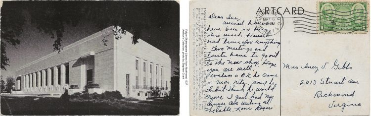 black&white postcard showing the Folger Shakespeare Library, side by side with the reverse of the postcard, containing handwriting in black ink