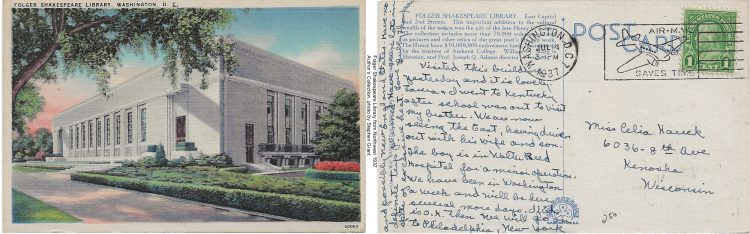Color postcard showing a colored drawn image of the Folger Shakespeare library, side by side with the reverse of that postcard, showing handwriting in black ink