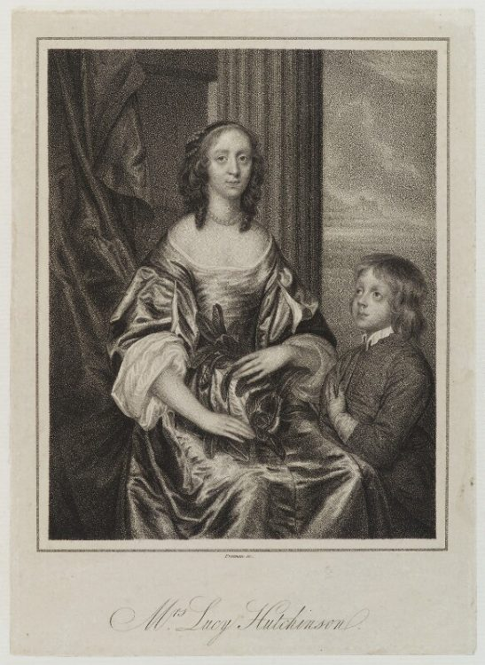 17th century engraving showing a woman seated. She is wearing a dress and has curly dark hair. At her left elbow is a young child.