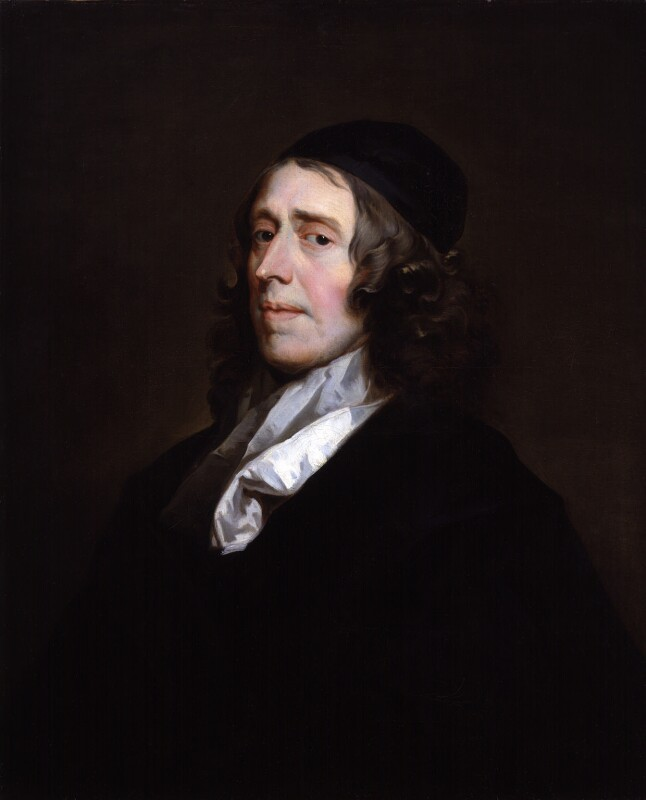 oil painting portrait of a 17th century white mine with brown hair wearing a white shirt and a dark robe on a dark background