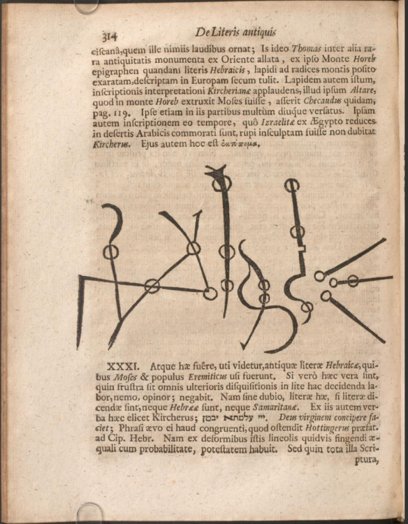 page of a 17th c book with text blocks at the top and bottom of the page and in the middle is a multi-line diagram