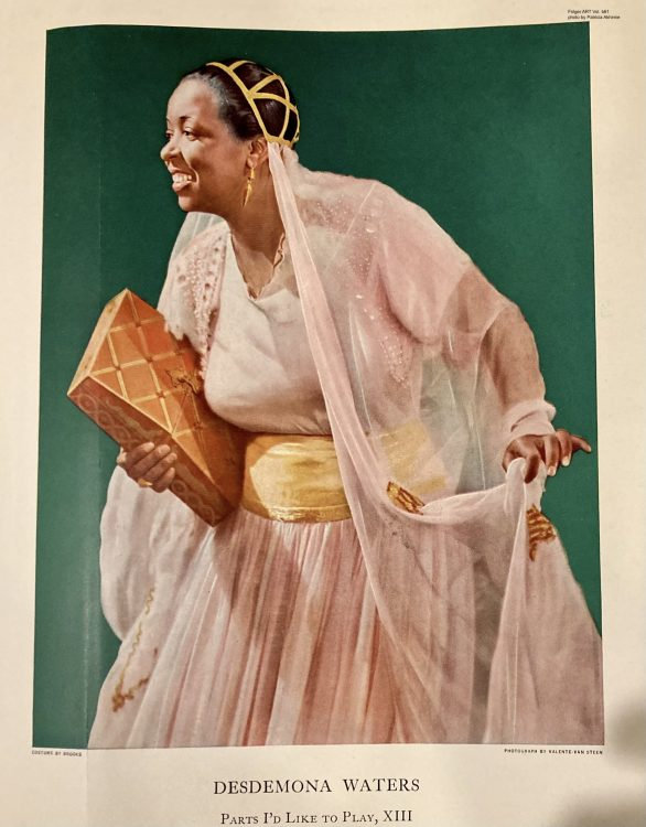 color drawing of a black woman in a light pink period dress holding a large leather bound book