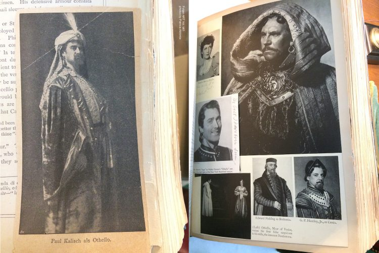 two pages of a scrapbook; on the left a single photo of a man in costume wearing robes and a turban; on the right 6 photos showing different characters from a cast of Othello